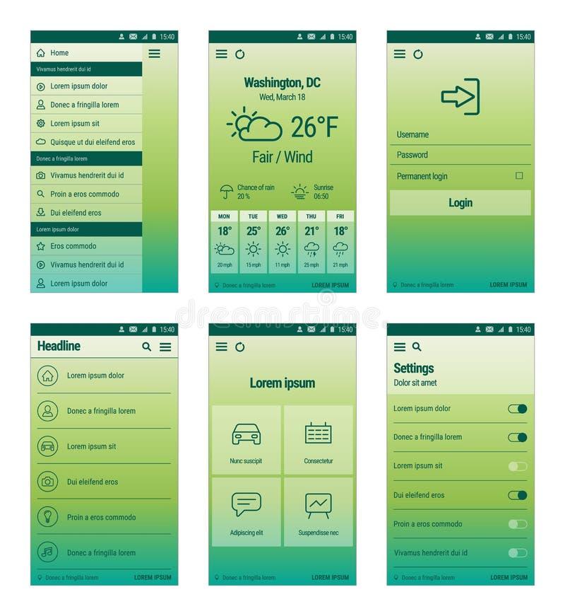 Ensemble de vert de design de l'interface mobile d'utilisateur illustration stock