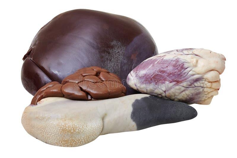 Ensemble de viande fraîche Langue de boeuf, coeur, foie images stock