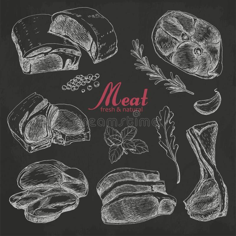 Ensemble de viande tirée par la main d'isolement sur le fond noir illustration de vecteur