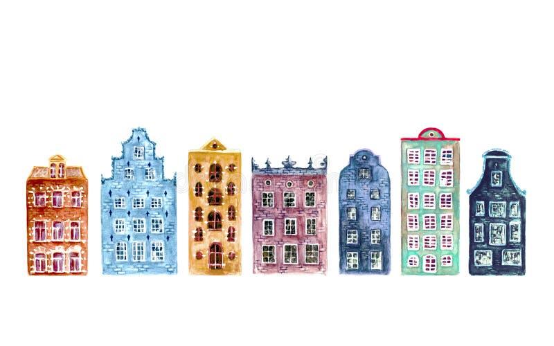 Ensemble de vieilles maisons d'Europe d'aquarelle d'isolement photos stock