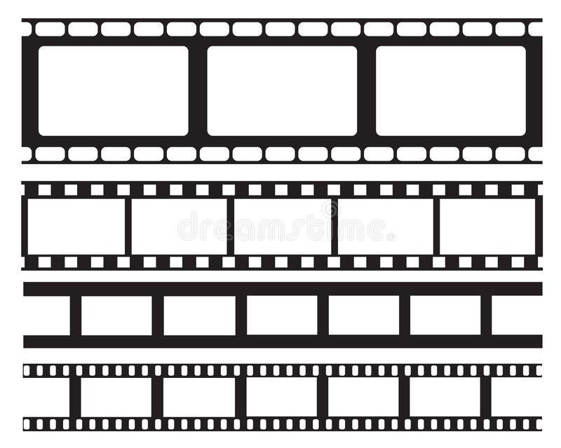 Ensemble de vieux rétro cadre de bande de film de vntage, illustration de vecteur Cadre de cinéma Bande de film Appartement d'iso illustration stock
