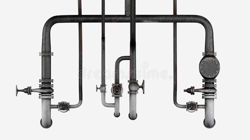 Ensemble de vieux, rouillés tuyaux et de valves d'isolement sur le fond blanc photo stock