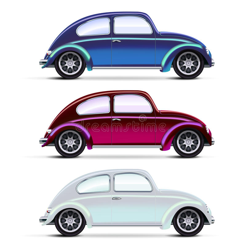 Ensemble de vieux véhicules multicolores illustration libre de droits