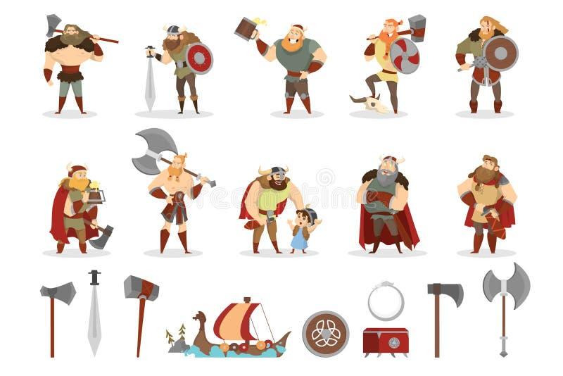 Ensemble de Viking Collection de guerrier avec l'arme illustration libre de droits