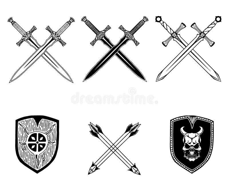Ensemble de Viking de flèche de bouclier d'arme d'épée illustration libre de droits