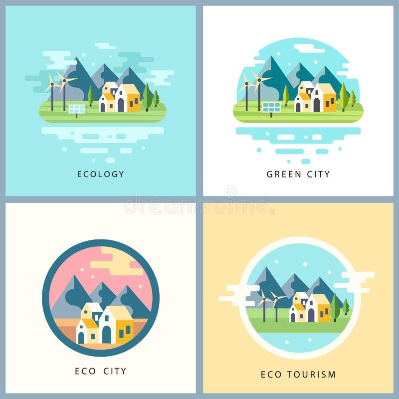 Ensemble de ville d'Eco Concept d'énergie de substitution illustration libre de droits