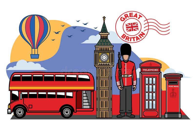 Ensemble de ville d'icône de la Grande-Bretagne illustration de vecteur