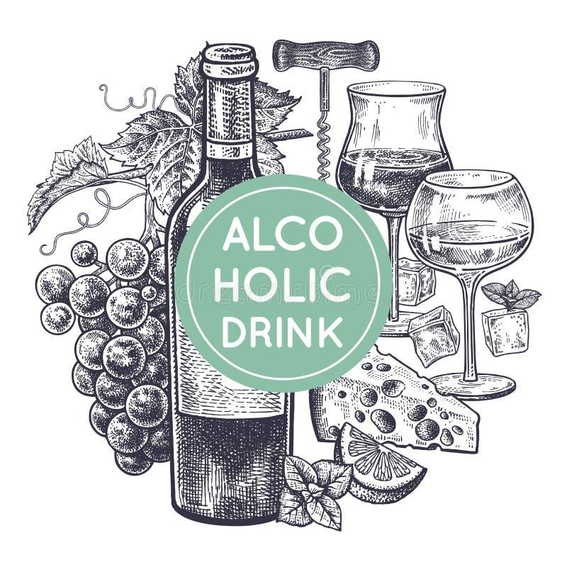 Ensemble de vin et de casse-croûte illustration de vecteur