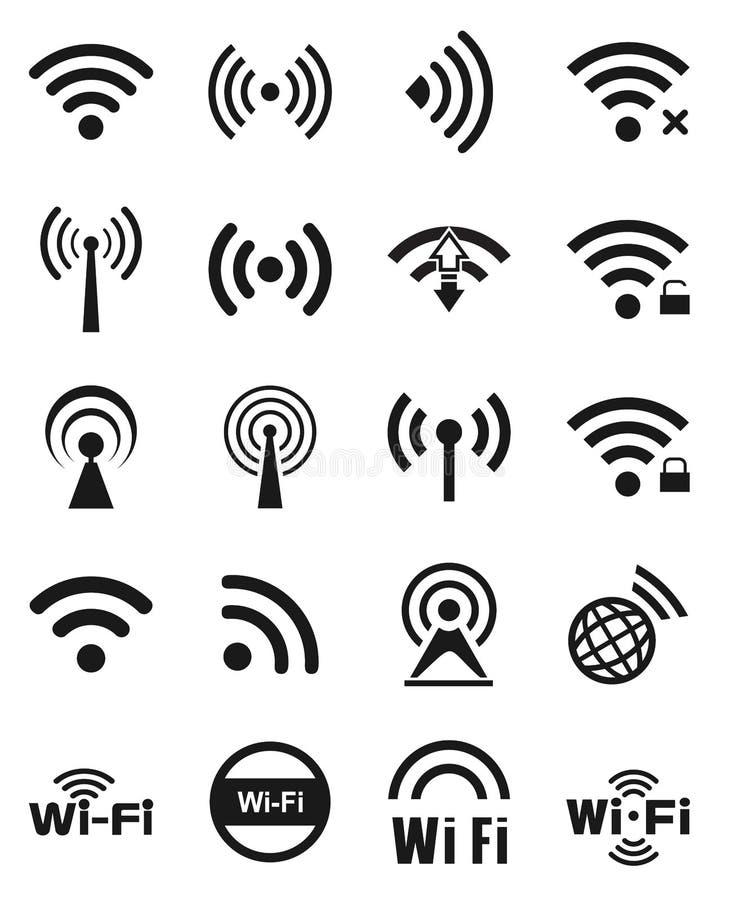 Ensemble de vingt icônes de wifi photographie stock libre de droits