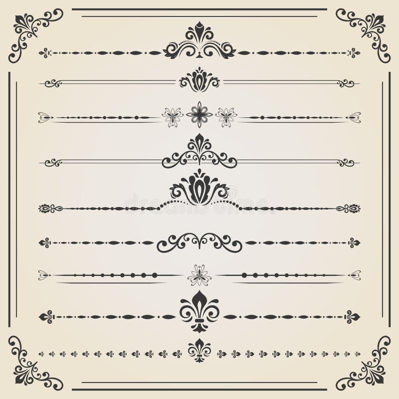 Ensemble de vintage d'éléments horizontaux illustration de vecteur