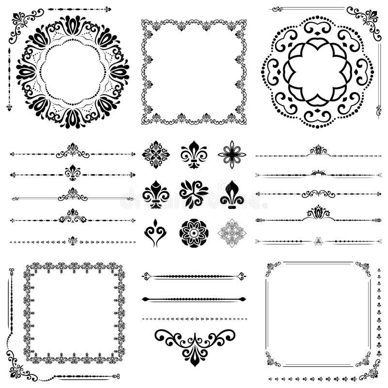 Ensemble de vintage d'éléments horizontaux, carrés et ronds de vecteur illustration de vecteur