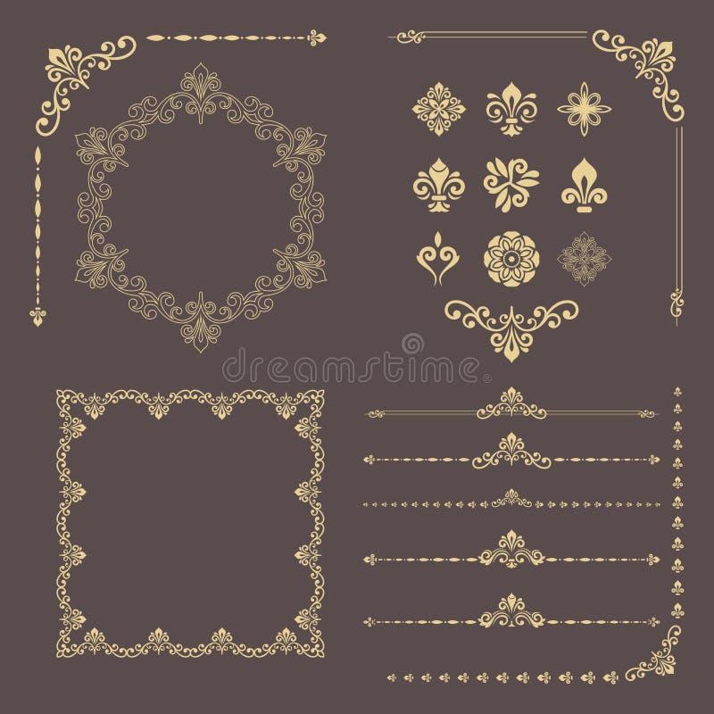 Ensemble de vintage d'éléments d'or horizontaux, carrés et ronds de vecteur illustration libre de droits