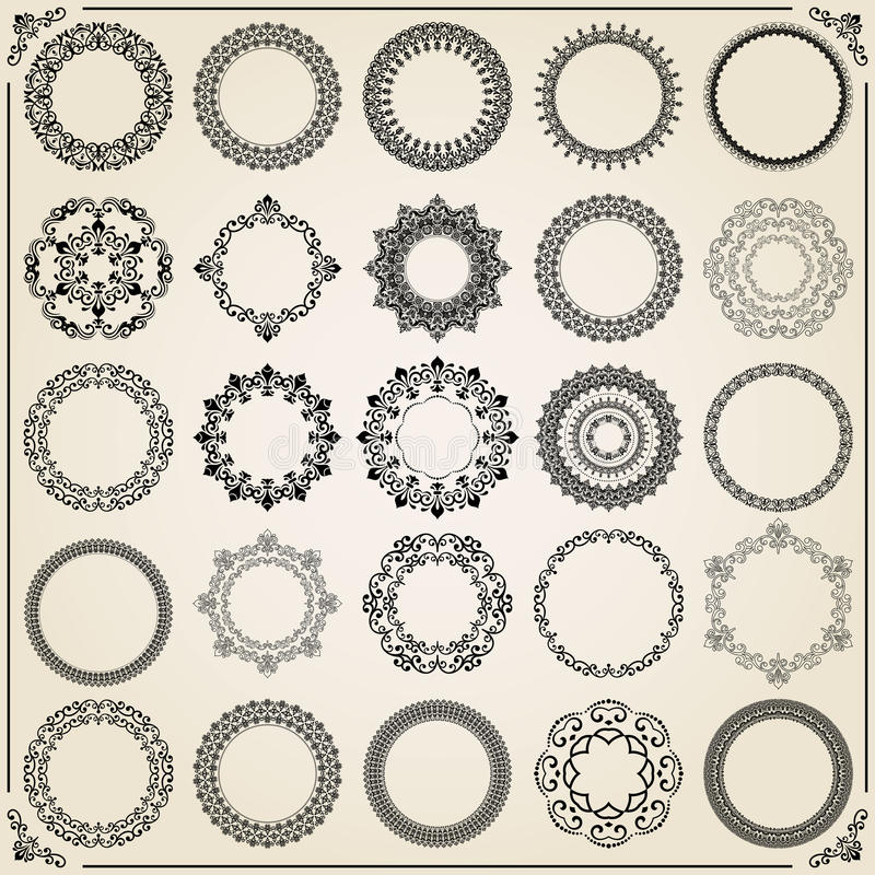 Ensemble de vintage d'éléments ronds de vecteur illustration stock