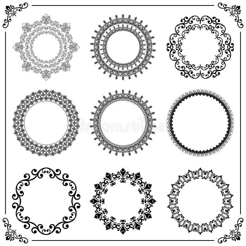 Ensemble de vintage d'éléments ronds de vecteur illustration de vecteur