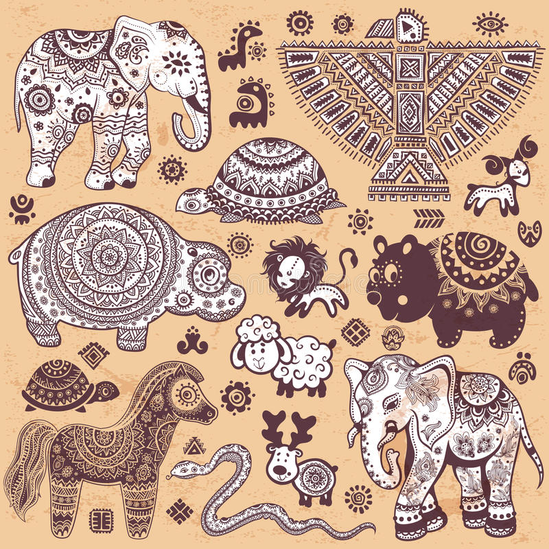 Ensemble de vintage d'animaux ethniques illustration de vecteur