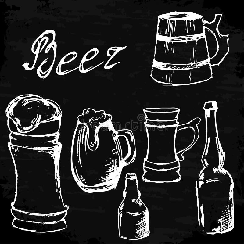 Ensemble de vintage d'illustration tirée par la main d'encre Tableau d'icône de bière illustration stock