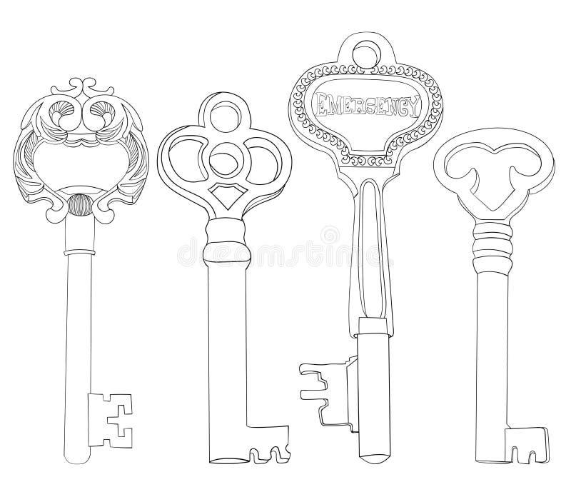Ensemble de vintage d'illustrations de fausses clés aucun contours de Lineart de suffisance illustration de vecteur