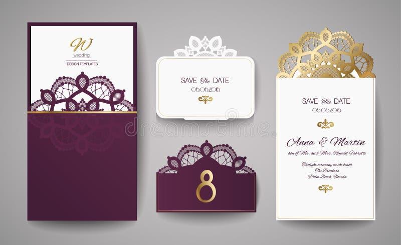 Ensemble de vintage d'invitation de mariage Calibre pour la coupe de laser Illustration de vecteur illustration stock