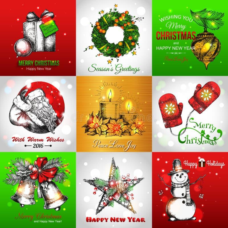 Ensemble de vintage de Joyeux Noël et de bonne année illustration stock