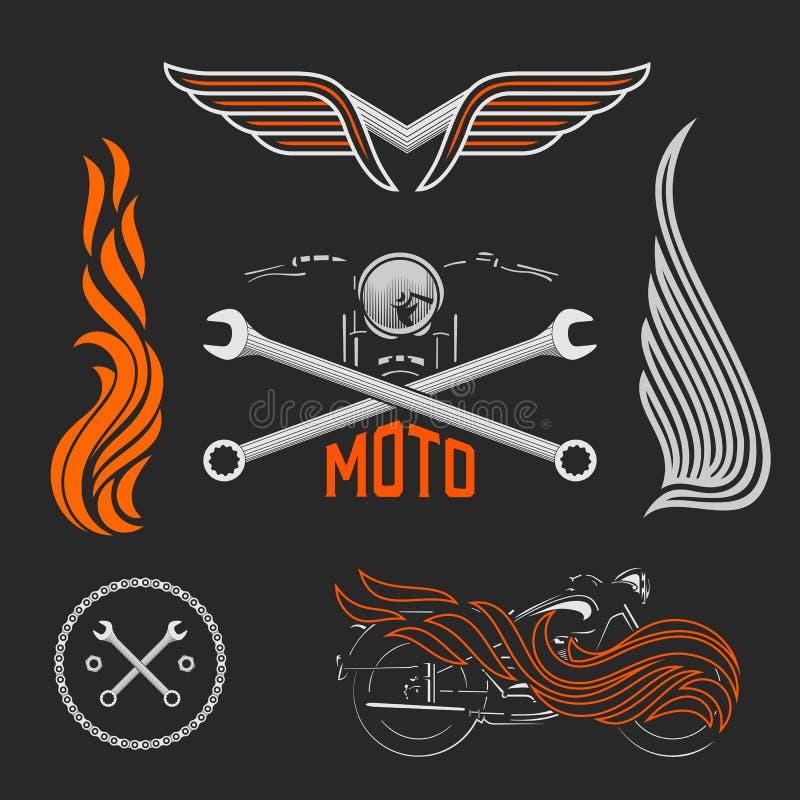 Ensemble de vintage de logos de moto, de labels et d'éléments de conception Vecteur courant illustration libre de droits