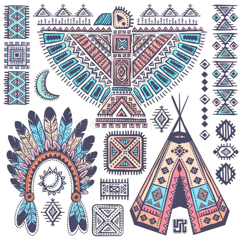 Ensemble de vintage de symboles de natif américain illustration libre de droits