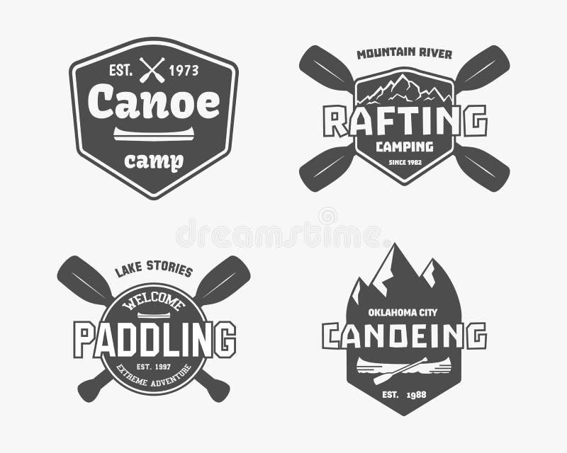 Ensemble de vintage transportant par radeau, kayaking, camp de canoë-kayak illustration libre de droits