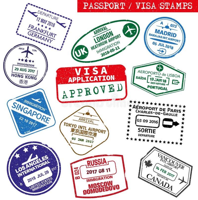 Ensemble de visa grunge et de tampon en caoutchouc de passeport illustration libre de droits