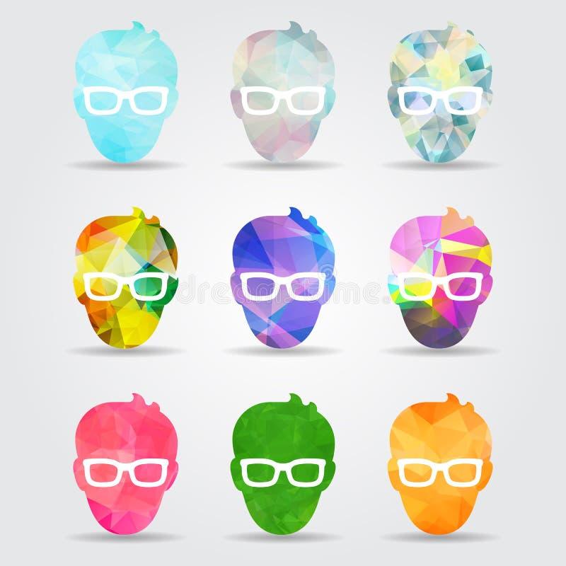 ensemble de visage masculin plat géométrique coloré abstrait avec les verres s illustration de vecteur