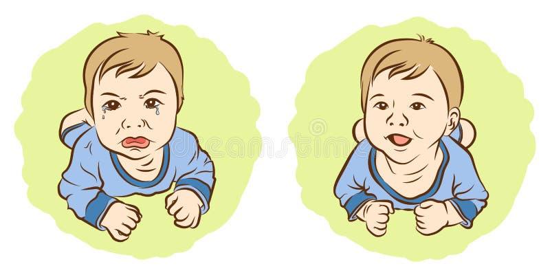 Ensemble de visage terrible de croquis, de tristesse d'enfants et de visage de bonheur illustration de vecteur
