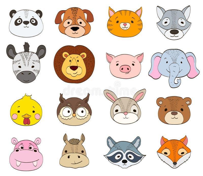 Ensemble de visages animaux de bande dessinée sur le blanc drawi de symboles d'animaux de bébé illustration de vecteur