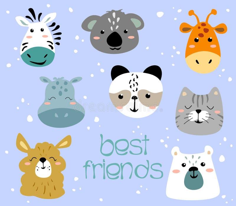 Ensemble de visages animaux mignons Girafe animalistic créative d'impression, zèbre, koala, hippopotame, panda, ours, chat, lama  illustration libre de droits