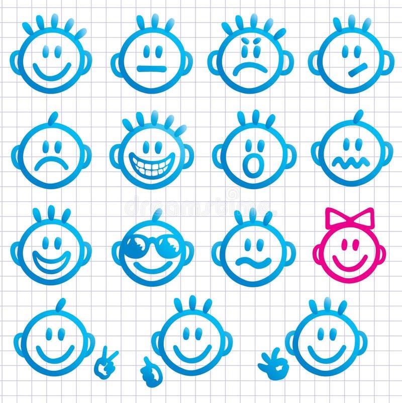 Ensemble de visages avec de diverses expressions d'émotion. illustration stock
