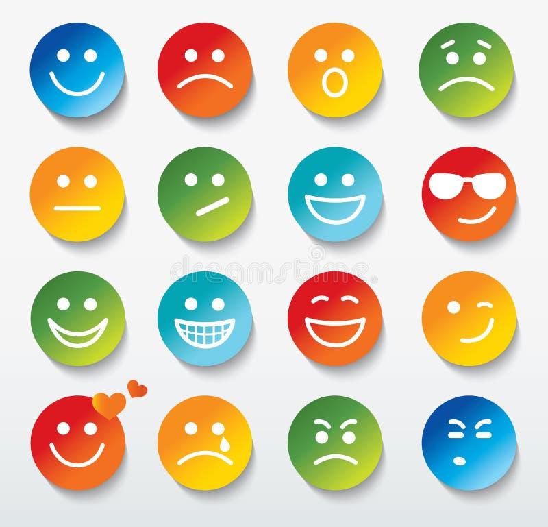 Ensemble de visages avec de diverses expressions d'émotion. illustration de vecteur