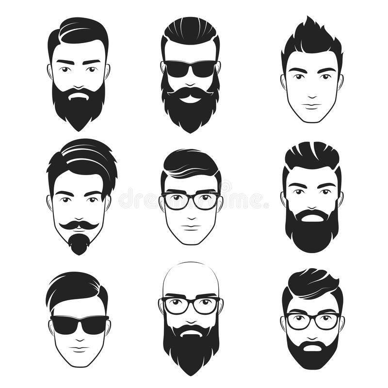 Ensemble de visages barbus d'hommes de hippie de vecteur Coupes de cheveux, barbes, moustaches réglées L'homme bel symbolise des  illustration stock