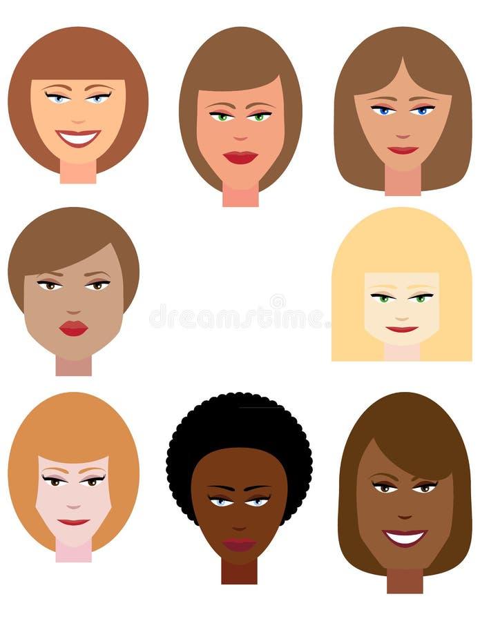 Ensemble de visages femelles images stock