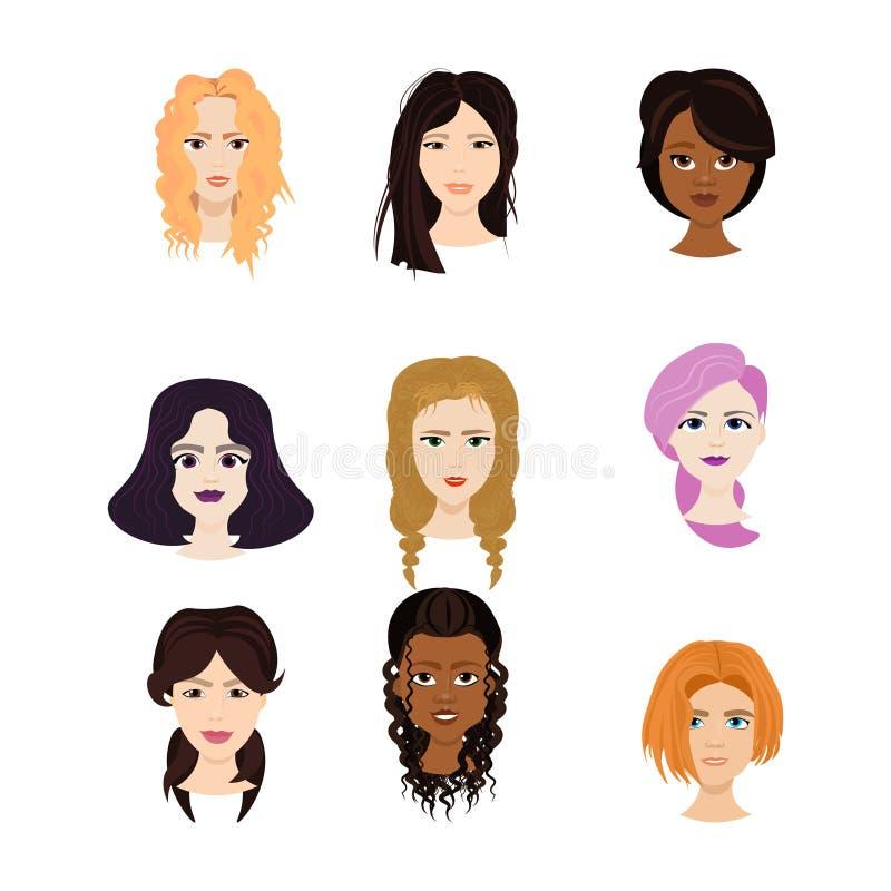 Ensemble de visages femelles d'isolement sur le fond blanc, femmes diverses avec différents portraits de coupes de cheveux illustration libre de droits