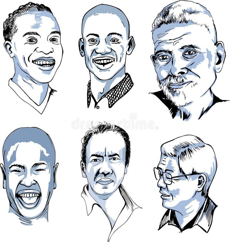 Ensemble de visages masculins divers illustration de vecteur