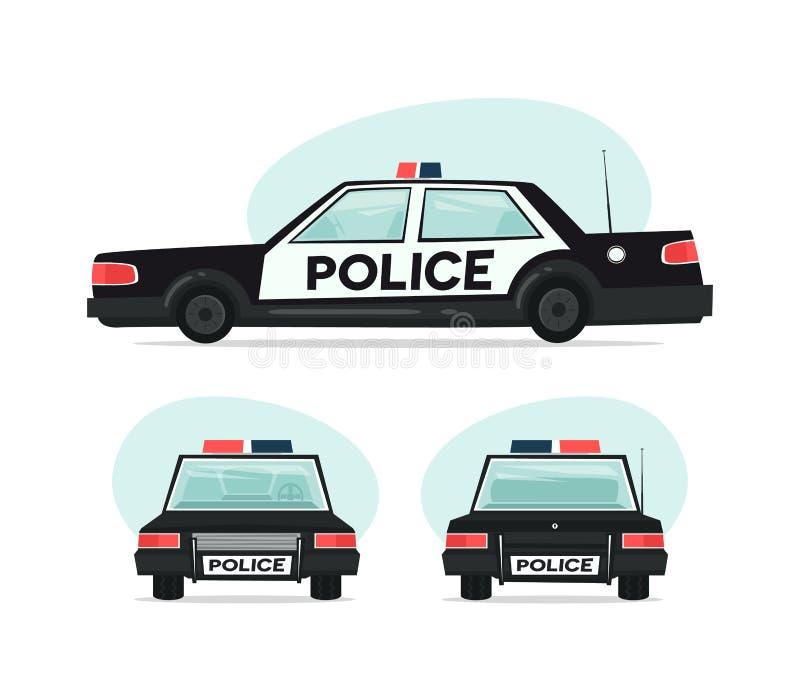 Ensemble de voiture de police de bande dessinée Objets d'isolement sur le fond blanc dans le style plat de bande dessinée Illustr illustration de vecteur