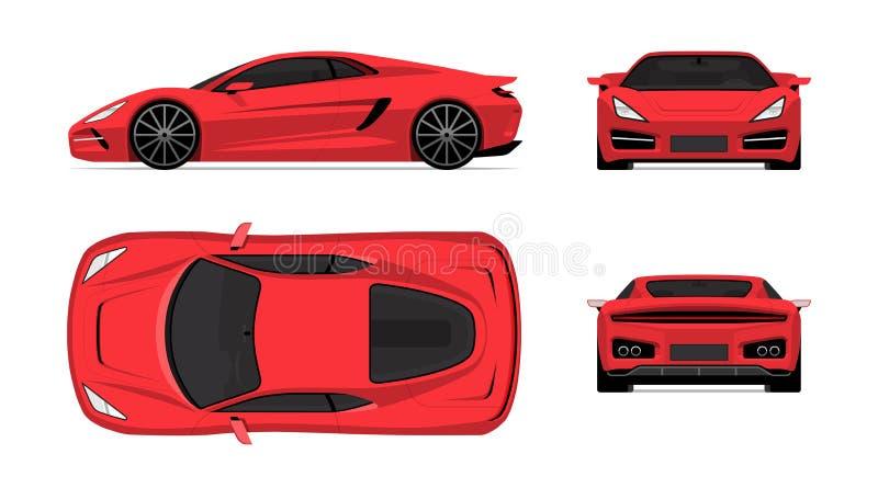 Ensemble de voiture de sport dans le style plat de conception Avant, dos, côté et vue supérieure du supercar d'isolement sur le f illustration de vecteur