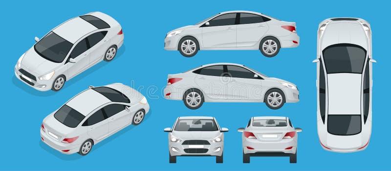 Ensemble de voitures de berline Véhicule hybride compact Automobile de pointe qui respecte l'environnement Voiture d'isolement, c illustration de vecteur
