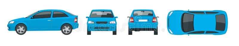 Ensemble de voitures bleues de berline Voiture d'isolement, calibre pour la voiture stigmatisant et faire de la publicité Changem illustration de vecteur