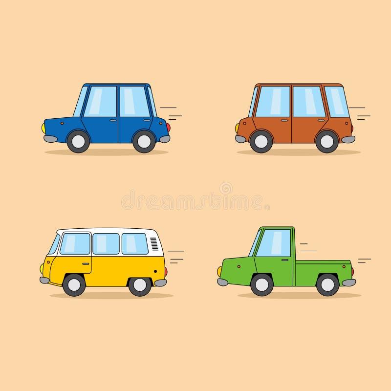 Ensemble de voitures de bande dessinée : berline, mini fourgon, fourgon hippie, camion pick-up illustration de vecteur
