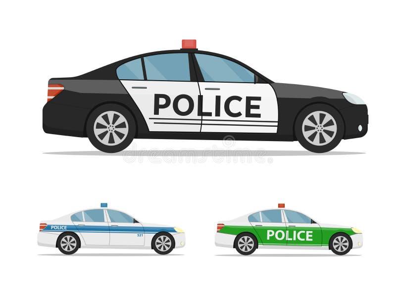 Ensemble de voitures de police vue de côté, d'isolement sur le fond blanc Voiture de police internationale illustration de vecteur