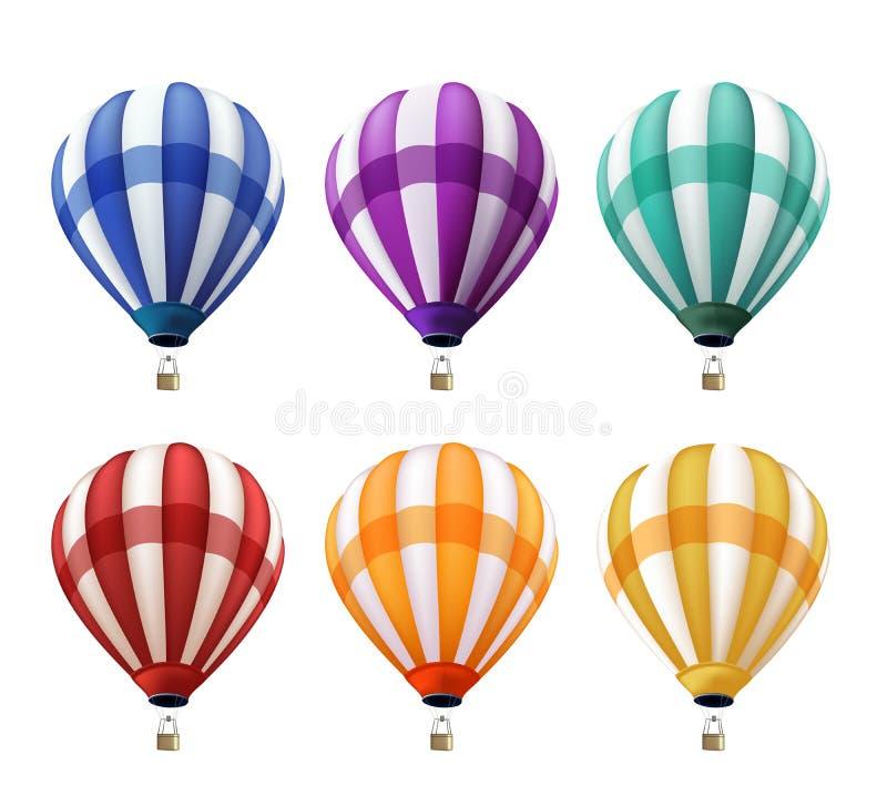 Ensemble de voler chaud coloré réaliste de ballons à air illustration stock