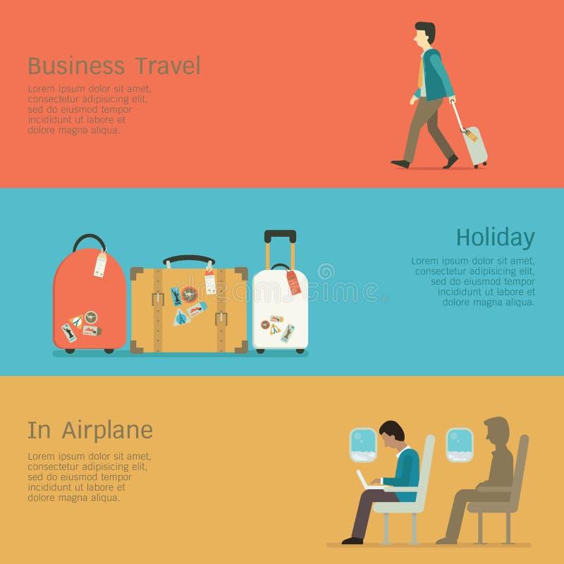 Ensemble de voyage d'affaires illustration libre de droits
