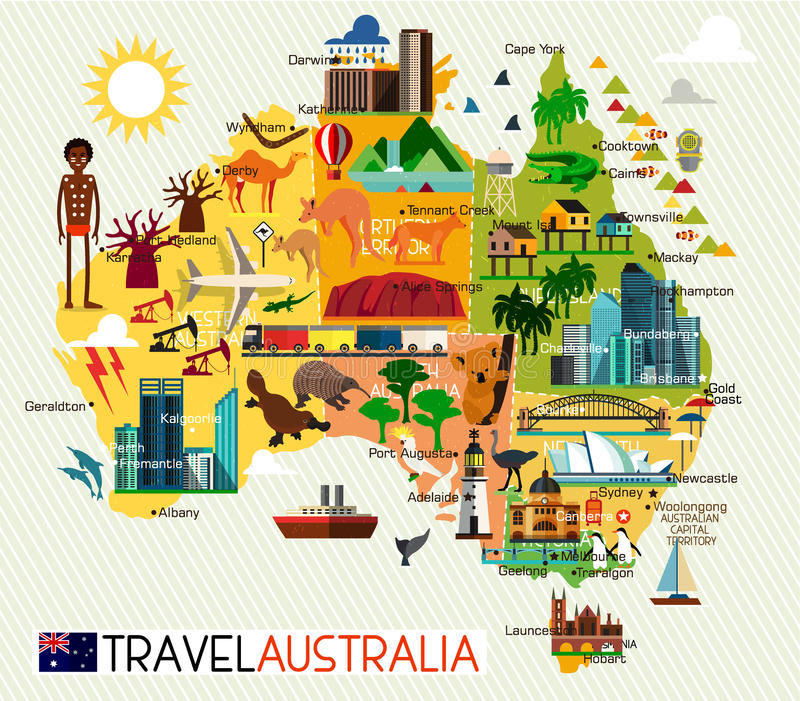 Ensemble de voyage d'Australie illustration de vecteur