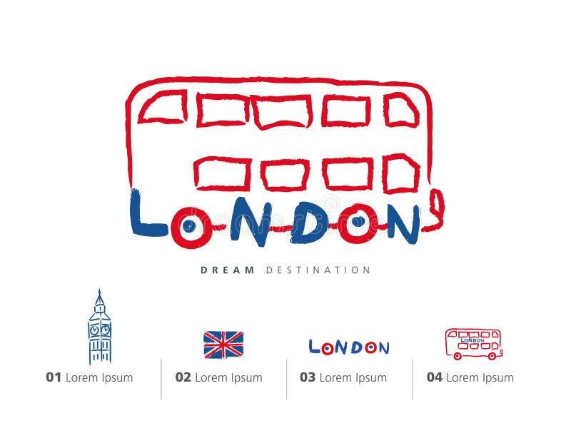 Ensemble de voyage de Londres, Angleterre, Big Ben, autobus illustration libre de droits