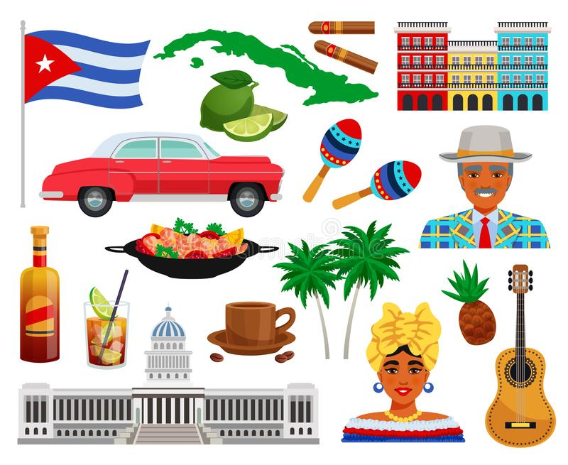 Ensemble de voyage du Cuba illustration stock