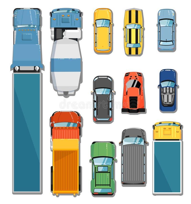 Ensemble de vue supérieure de voitures et de camions illustration libre de droits