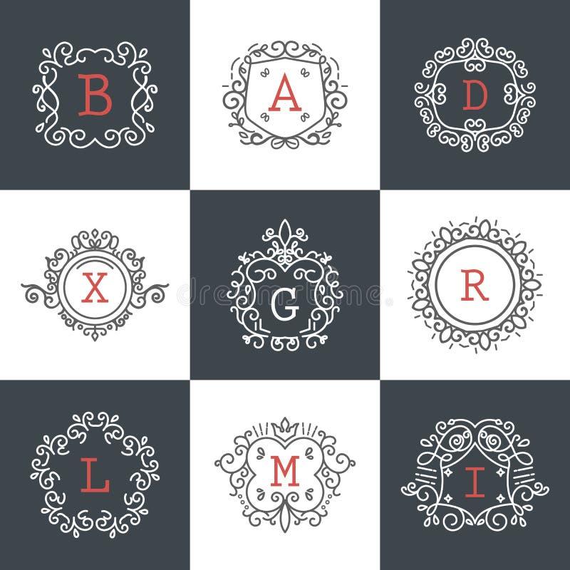 Ensemble de vues de vintage pour des logos de luxe pour le café, boutique, magasin, au sujet de illustration stock